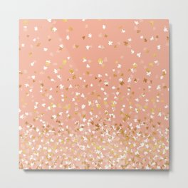 Floating Confetti - Peach and Gold Metal Print