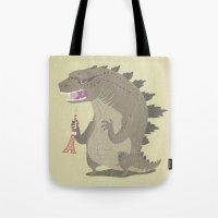 godzilla Tote Bags featuring Godzilla by Rod Perich