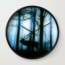 Deer in the blue forest Wall Clock