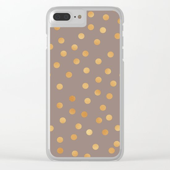 Rose gold polka dots - mocha golden Clear iPhone Case