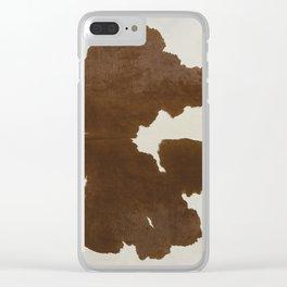 Dark Brown & White Cow Hide Clear iPhone Case