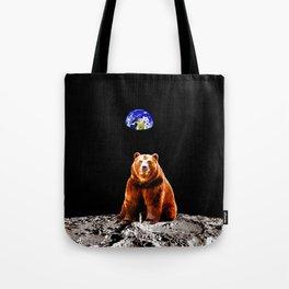 Moon Grizzly Bear  Tote Bag