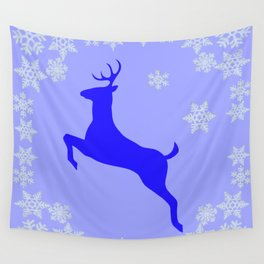 DECORATIVE LEAPING CHRISTMAS  BLUE DEER & SNOWFLAKES Wall Tapestry