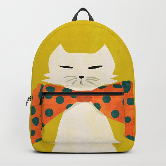 Cat with incredebly oversized humongous bowtie Backpack