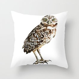 Low Poly  Burrowing Owl Throw Pillow