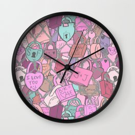 Love Locks Fence in Rose Champagne Wall Clock