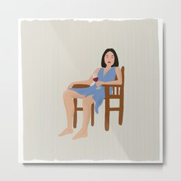 Girl chilling with wine glass in hand Metal Print