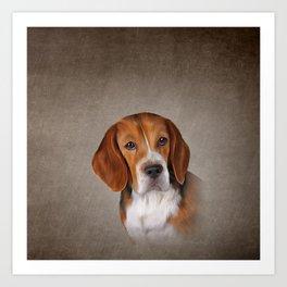 Drawing Dog Beagle 3 Art Print