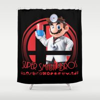 mario bros Shower Curtains featuring Dr. Mario - Super Smash Bros. by Donkey Inferno