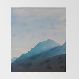 The Mountains int he Fog (Color) Throw Blanket