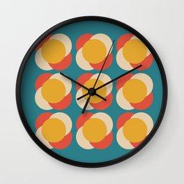 Minimalist Mid Century Large Circles Blue Pattern Wall Clock