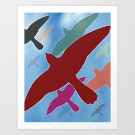 Multicolored Flock over Blue Sky Art Print
