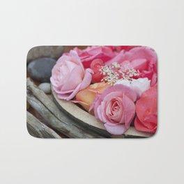 Pink Roses Romantic Still Life Bath Mat