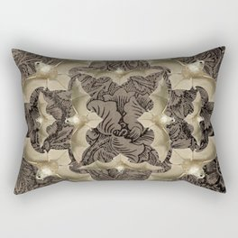 Floral  Pattern With White Bats Rectangular Pillow