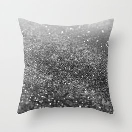 Silver Gray Black Glitter #2 (Faux Glitter - Photography) #shiny #decor #art #society6 Throw Pillow