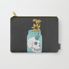 Skull in Jar with Flowers Carry-All Pouch
