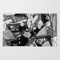 infamous Area & Throw Rugs featuring  Bird of Steel Comix – #8 of 8  - (Society 6 POP-ART COLLECTION SERIES) by Tex Watt