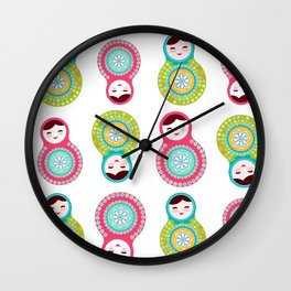 dolls matryoshka on white background, pink and blue colors Wall Clock