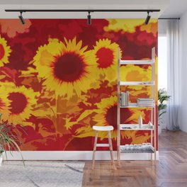 Sunflowers Field Of Fire Wall Mural
