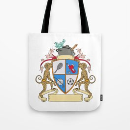 Monkey Money Cook Pot Sports Wine Coat of Arms Drawing Tote Bag