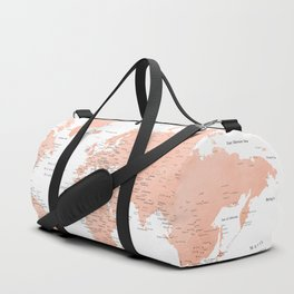 "Rose gold world map with cities, ""Hadi"" Duffle Bag"