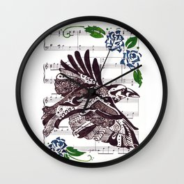 Quoth the Raven   (Raven and blue roses on sheet music) Wall Clock