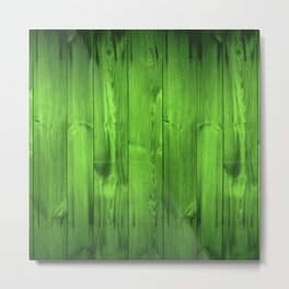 Green Grass Wood Planks Metal Print