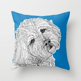 Cockapoo Dog Portrait ( blue background ) Throw Pillow