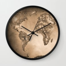 Stars world map. Sepia Wall Clock