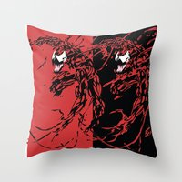 carnage Throw Pillows featuring Carnage by Young Jake