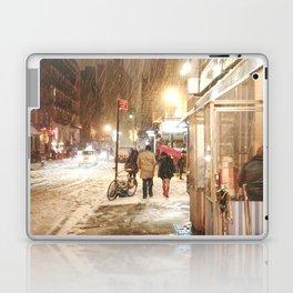 New York City - Snow at Night - Ludlow Street Laptop & iPad Skin