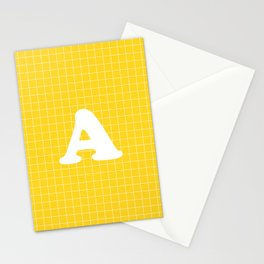 Monogram A on Grid - white on yellow Stationery Cards