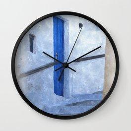 little Greek street steps Wall Clock