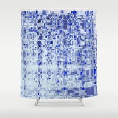 Abstract Architecture Blue Shower Curtain