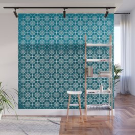 Portuguese Tiles of the Algarve in Blue with Glitch Wall Mural