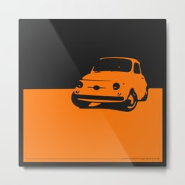 Fiat 500 1959, Orange on Black Metal Print