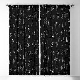 Little Black Wildflowers Blackout Curtain