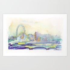 London Watercolor scenery Art Print