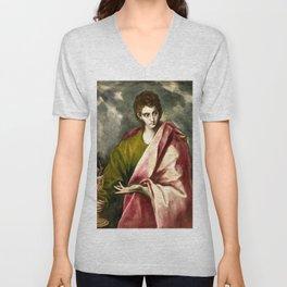 "El Greco (Domenikos Theotokopoulos) ""Saint John the Evangelist"" Unisex V-Neck"