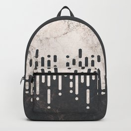 Marble and Geometric Diamond Drips, in Charcoal Grey and Light Beige Backpack