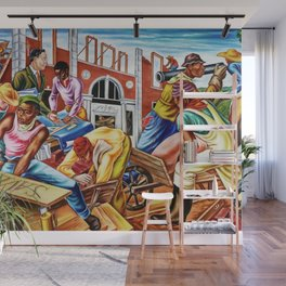 """African American Classical Masterpiece """"The building of Savery Library"""" by Hale Woodruff Wall Mural"""