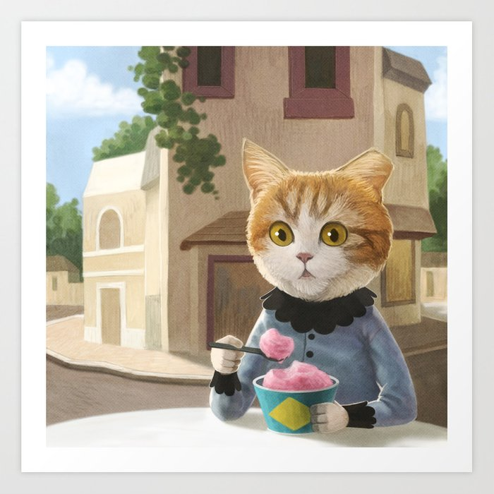 Yummy ice cream and a Cat Art Print
