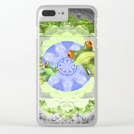 Trippy Texture Tree Frog Boho Mandala Clear iPhone Case