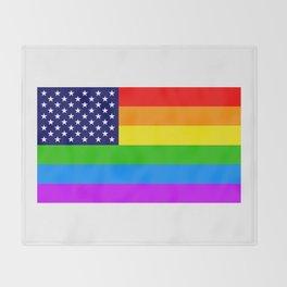 Gay USA Rainbow Flag - American LGBT Stars and Stripes Throw Blanket