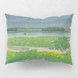 Kawase Hasui Vintage Japanese Woodblock Print Flooded Asian Rice Field Mountain Parallax Landscape Pillow Sham
