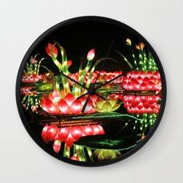 Chinese flower lantern pond at night Wall Clock
