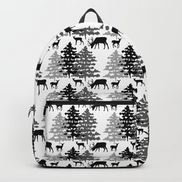 Woodland Rustic Deer Winter Mountain Forest Trees Backpack