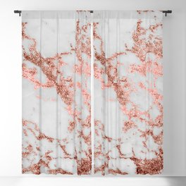 Stylish white marble rose gold glitter texture image Blackout Curtain