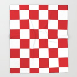 Large Checkered - White and Fire Engine Red Throw Blanket