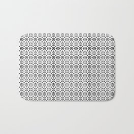 Oriental Style Mosaic Pattern  - Black and White Bath Mat